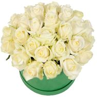 White roses in a round box - flowers and bouquets on roza.kharkov.ua