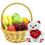 Fruit basket with teddy bear - flowers and bouquets on roza.kharkov.ua
