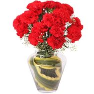 Red carnations in a bouquet - flowers and bouquets on roza.kharkov.ua