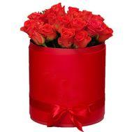 Оранжевые розы в шляпной коробке - цветы и букеты на roza.kharkov.ua
