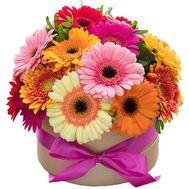 Colorful bouquet in a box - flowers and bouquets on roza.kharkov.ua