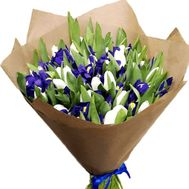 Bouquet of tulips and irises in paper - flowers and bouquets on roza.kharkov.ua