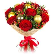 A bouquet of roses with a Christmas decoration - flowers and bouquets on roza.kharkov.ua