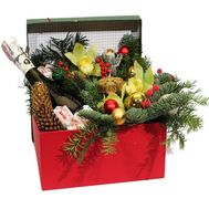 Box with champagne and flowers for the New Year - flowers and bouquets on roza.kharkov.ua