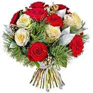 New Year bouquet of roses with a pine - flowers and bouquets on roza.kharkov.ua