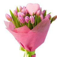 25 pink tulips with a heart - flowers and bouquets on roza.kharkov.ua