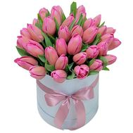 Pink tulips in a box - flowers and bouquets on roza.kharkov.ua