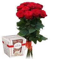 11 роз и рафаэлло - цветы и букеты на roza.kharkov.ua