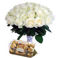 35 роз и ферреро - цветы и букеты на roza.kharkov.ua
