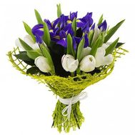 Bouquet of irises and tulips - flowers and bouquets on roza.kharkov.ua