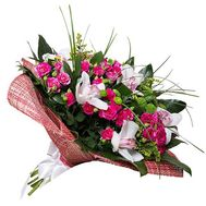 Bouquet of bush roses and orchids - flowers and bouquets on roza.kharkov.ua