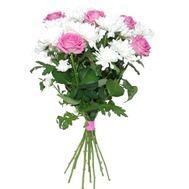 Букет из роз и хризантем - цветы и букеты на roza.kharkov.ua