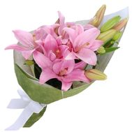 Bouquet of pink lilies - flowers and bouquets on roza.kharkov.ua