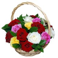 Basket of multi-colored roses - flowers and bouquets on roza.kharkov.ua