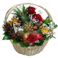 Basket with fruits and flowers - flowers and bouquets on roza.kharkov.ua