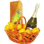 Gift basket with elite champagne - flowers and bouquets on roza.kharkov.ua