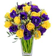 Contrast bouquet of yellow roses and violet eustomas - flowers and bouquets on roza.kharkov.ua