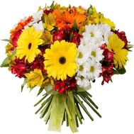 Colorful bouquet of gerberas, alstroemerias and chrysanthemums - flowers and bouquets on roza.kharkov.ua