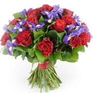 Bouquet of irises and red roses - flowers and bouquets on roza.kharkov.ua
