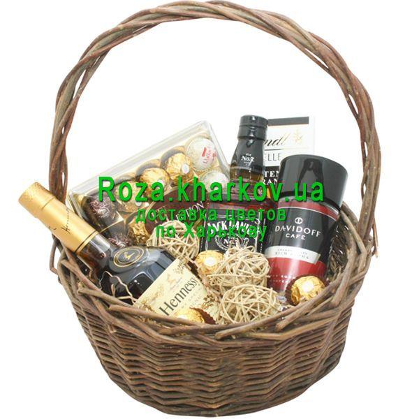 """2a8569ac386a """"Элитная подарочная корзина для мужчины"""" в интернет-магазине цветов  roza.kharkov."""