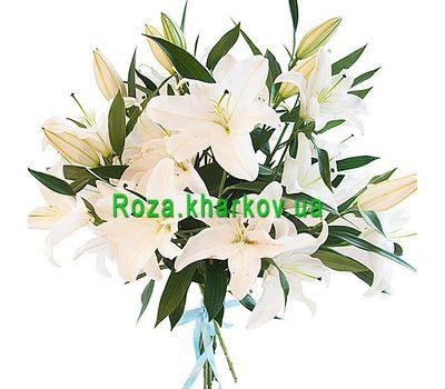 """Snow-white bouquet of lilies"" in the online flower shop roza.kharkov.ua"