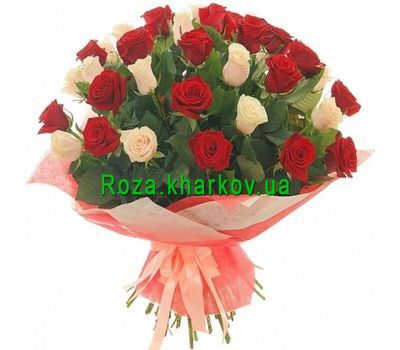 """45 white and red roses"" in the online flower shop roza.kharkov.ua"