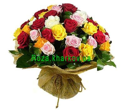 """55 multi-colored roses"" in the online flower shop roza.kharkov.ua"