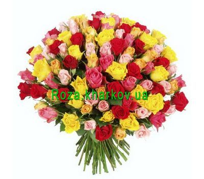 """Large bouquet of multi-colored roses"" in the online flower shop roza.kharkov.ua"