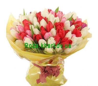 """Large bouquet of tulips"" in the online flower shop roza.kharkov.ua"