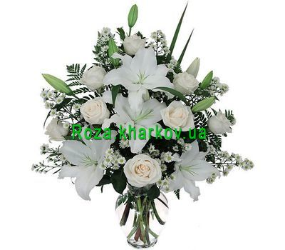 """Bouquet of flowers from roses and lilies"" in the online flower shop roza.kharkov.ua"