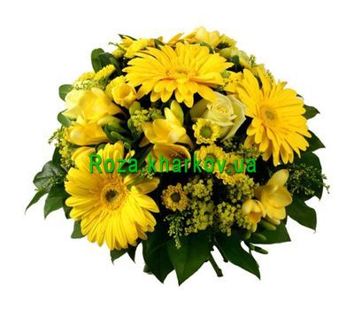 """""""Bouquet of chrysanthemums and gerberas"""" in the online flower shop roza.kharkov.ua"""