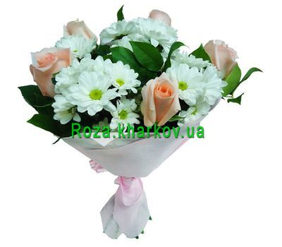 """Bouquet of chrysanthemums and roses"" in the online flower shop roza.kharkov.ua"
