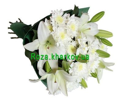 """Bouquet of lilies and chrysanthemums"" in the online flower shop roza.kharkov.ua"