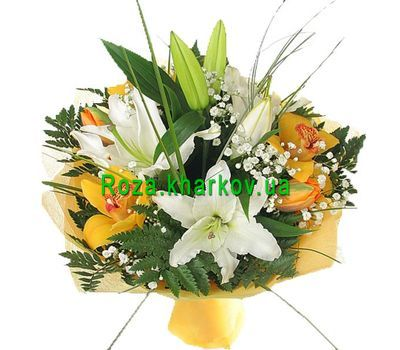 """Bouquet of lilies and orchids"" in the online flower shop roza.kharkov.ua"