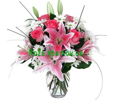 """Bouquet of lilies and roses"" in the online flower shop roza.kharkov.ua"