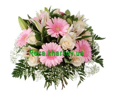 """""""Bouquet of lilies and gerberas"""" in the online flower shop roza.kharkov.ua"""