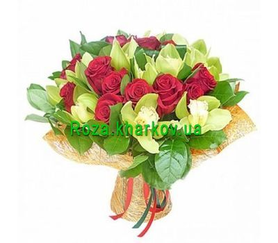 """Bouquet of orchids and roses"" in the online flower shop roza.kharkov.ua"