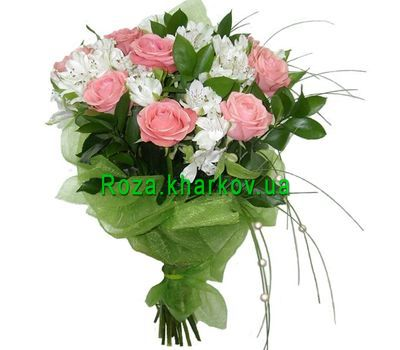 """Bouquet of roses and alstroemerias"" in the online flower shop roza.kharkov.ua"