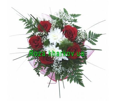 """Bouquet of roses and chrysanthemums"" in the online flower shop roza.kharkov.ua"