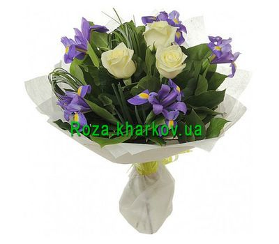 """Bouquet of roses and irises"" in the online flower shop roza.kharkov.ua"