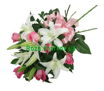 """Bouquet of roses and lilies"" in the online flower shop roza.kharkov.ua"