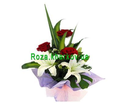 """""""Bouquet of roses and lilies"""" in the online flower shop roza.kharkov.ua"""