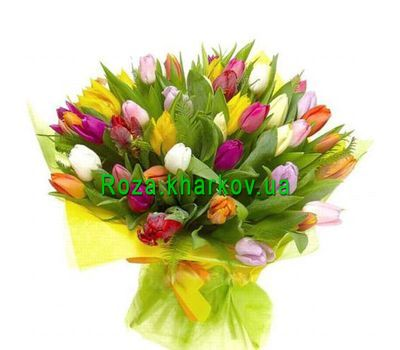 """Bouquet of multi-colored tulips"" in the online flower shop roza.kharkov.ua"