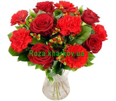 """Bouquet of roses and carnations"" in the online flower shop roza.kharkov.ua"