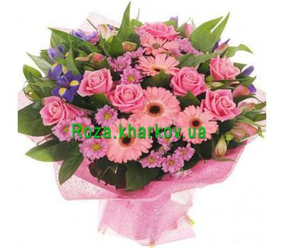 """""""Bouquet of roses and chrysanthemums"""" in the online flower shop roza.kharkov.ua"""