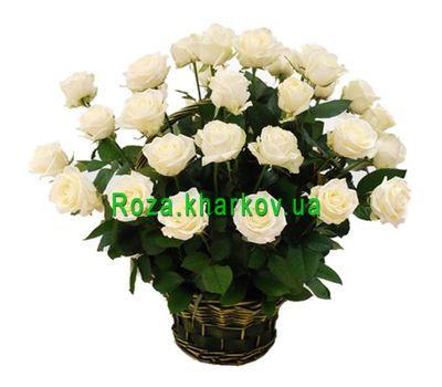 """Корзина белых роз"" в интернет-магазине цветов roza.kharkov.ua"