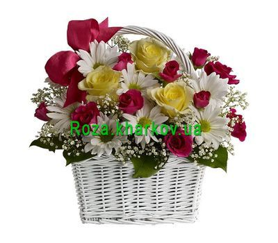 """Basket of chrysanthemums and roses"" in the online flower shop roza.kharkov.ua"