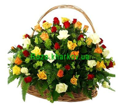 """Basket with different color roses"" in the online flower shop roza.kharkov.ua"