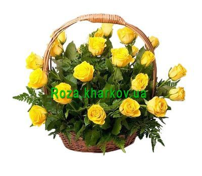 """Basket of yellow roses"" in the online flower shop roza.kharkov.ua"