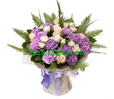 """""""Beautiful bouquet of roses and carnations"""" in the online flower shop roza.kharkov.ua"""